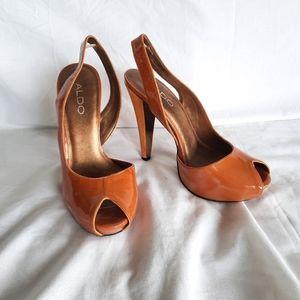 Aldo orange peep toe pumps